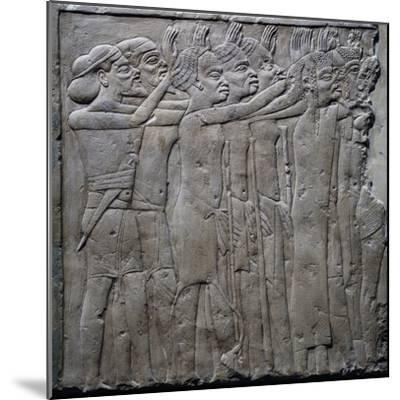 Foreign Princes Pay Tribute to Pharaoh Tutankhamun, Relief from Tomb of Horemheb, Saqqara--Mounted Giclee Print