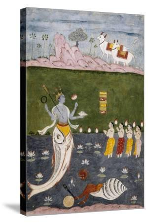 Vishnu in the Guise of a Fish with Four Arms Holding Her Symbols--Stretched Canvas Print