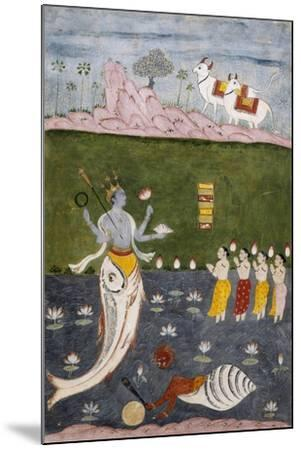 Vishnu in the Guise of a Fish with Four Arms Holding Her Symbols--Mounted Giclee Print