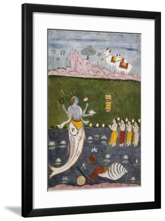 Vishnu in the Guise of a Fish with Four Arms Holding Her Symbols--Framed Giclee Print