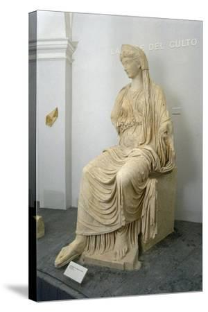 Roman Civilization Statue of Seated Livia Portrayed as Ceres from Roselle--Stretched Canvas Print