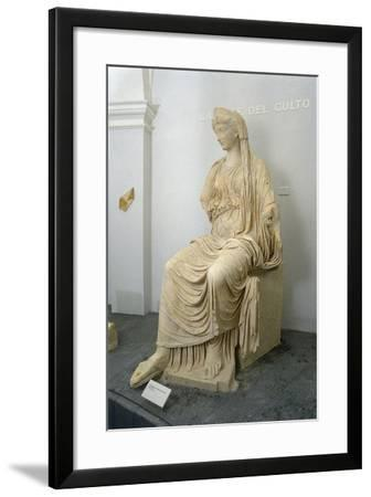 Roman Civilization Statue of Seated Livia Portrayed as Ceres from Roselle--Framed Giclee Print