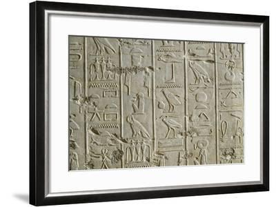 Tomb of Ramses II, Relief of Hieroglyphics Illustrating Litany of Ra from 19th Dynasty--Framed Giclee Print