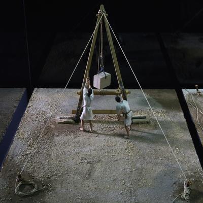 Model of Crane Lifting Stone Block--Framed Giclee Print