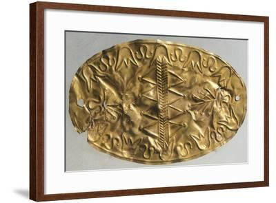Gold Ellipsoidal Breastplate Depicting the Tree of Life with Palmettes and Lotus Flowers--Framed Giclee Print
