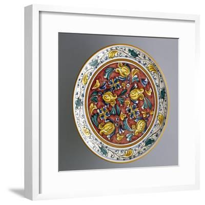 Round Dish with Floral Decorations on Carmine Red Background--Framed Giclee Print