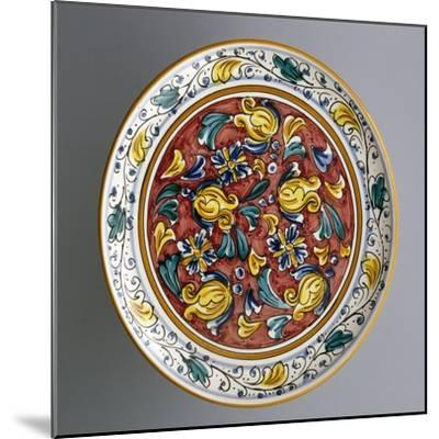Round Dish with Floral Decorations on Carmine Red Background--Mounted Giclee Print