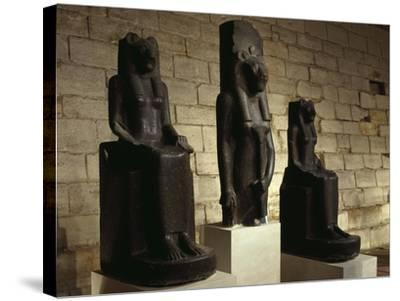 Three Statues of the Goddess Sekhmet in Guise of Lion, from Thebes--Stretched Canvas Print