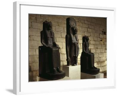 Three Statues of the Goddess Sekhmet in Guise of Lion, from Thebes--Framed Giclee Print