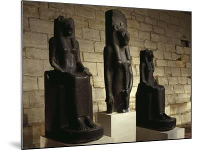 Three Statues of the Goddess Sekhmet in Guise of Lion, from Thebes--Mounted Giclee Print