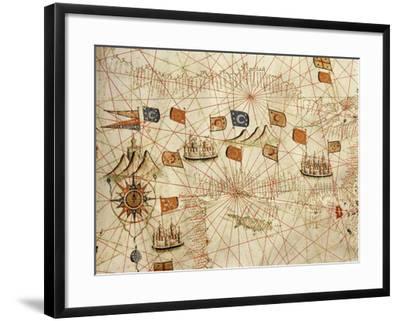 Nautical Chart of the Central-Eastern Mediterranean Sea-Calopodio da Candia-Framed Giclee Print