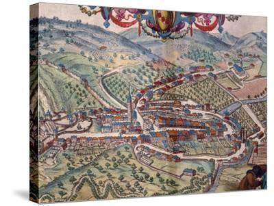 View of Serravalle Scrivia-Georg Braun and Franz Hogenberg-Stretched Canvas Print