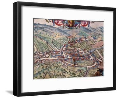 View of Serravalle Scrivia-Georg Braun and Franz Hogenberg-Framed Giclee Print