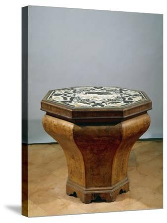 Inlaid Walnut Root Octagonal Table-Gerolamo Messina-Stretched Canvas Print