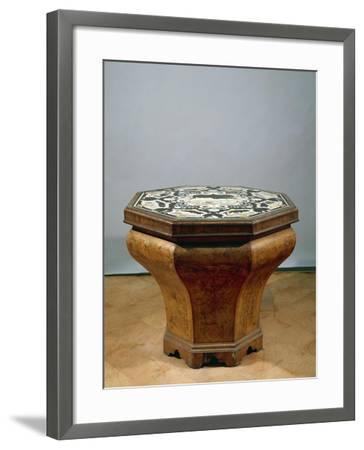 Inlaid Walnut Root Octagonal Table-Gerolamo Messina-Framed Giclee Print