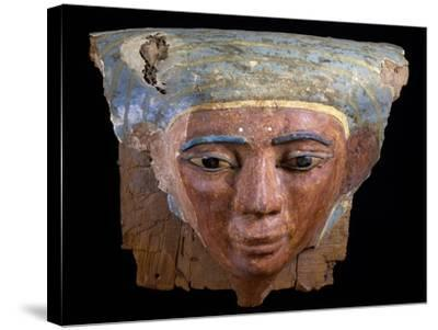 Upper Section of Male Sarcophagus, Polychrome Wood, Ramesside Period--Stretched Canvas Print