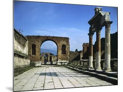 Forum Showing Entrance of Macellum on Right and in Background Arch of Triumph--Mounted Giclee Print