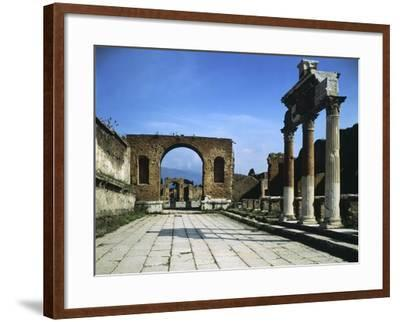 Forum Showing Entrance of Macellum on Right and in Background Arch of Triumph--Framed Giclee Print