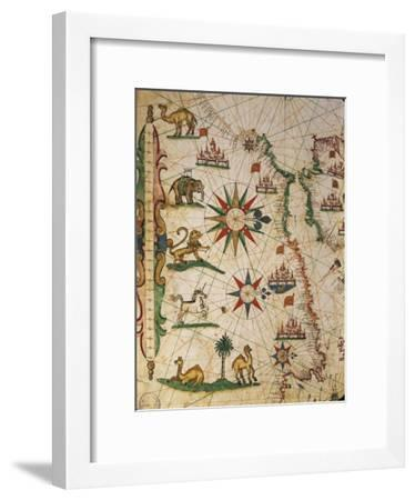 Nautical Chart of Northern Africa with Depiction of Animals and Wind Rose-Pietro Giovanni Prunus-Framed Giclee Print