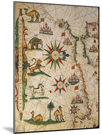 Nautical Chart of Northern Africa with Depiction of Animals and Wind Rose-Pietro Giovanni Prunus-Mounted Giclee Print