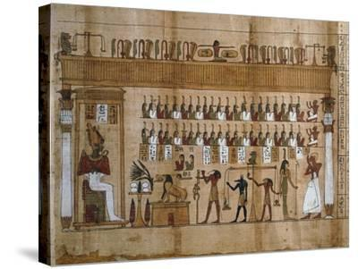 The Weighing of Souls, Chapter 125 of Book of Dead, Detail of Papyrus of Tasnakht--Stretched Canvas Print