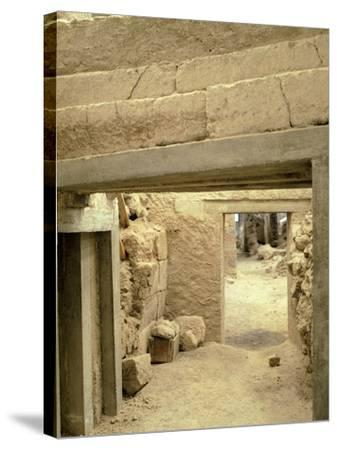 Excavations at the Archaeological Site of Akrotiri on Thera, Now Santorini, Greece--Stretched Canvas Print