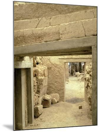 Excavations at the Archaeological Site of Akrotiri on Thera, Now Santorini, Greece--Mounted Giclee Print