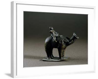 Elephant-Shaped Lucerne, with Wick Protruding from Trunk, Bronze--Framed Giclee Print