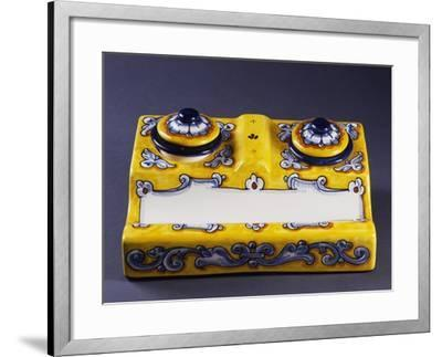 Two Quill Holders with Two Inkwells--Framed Giclee Print