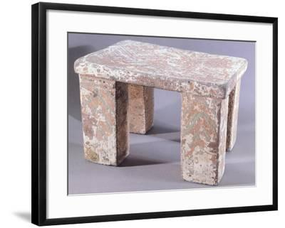 Stone Seat Covered with Painted Stucco--Framed Giclee Print