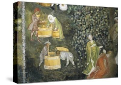 Tasting New Must Fresco Attributed to Bohemian Master Venceslao--Stretched Canvas Print