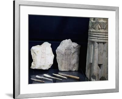 Model of Column Shafts of Columns on Ostrakon and Plaster Spatulas--Framed Giclee Print