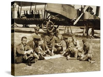 Preparation of a Mission with the Biplane Bomber Caproni Ca3--Stretched Canvas Print