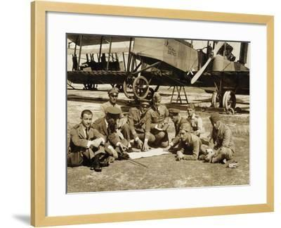 Preparation of a Mission with the Biplane Bomber Caproni Ca3--Framed Giclee Print