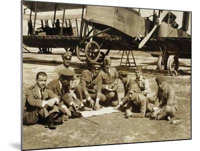 Preparation of a Mission with the Biplane Bomber Caproni Ca3--Mounted Giclee Print
