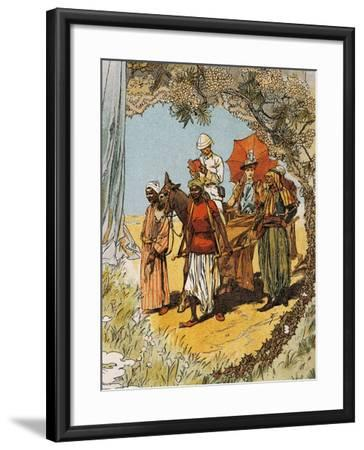 Man on Horseback and Woman Being Carried on Sedan Chair by Natives--Framed Giclee Print