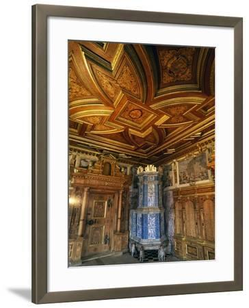 View of Princely Room with Inlaid Ceiling and Majolica Stove--Framed Giclee Print