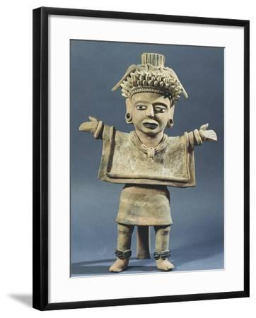 Statue of a Woman with a Poncho and Open Arms--Framed Giclee Print