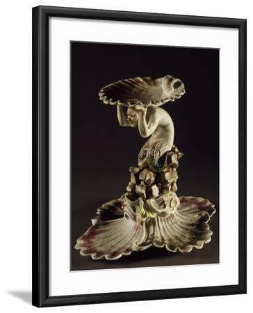 Table Centerpiece with Triton Holding Up Shell--Framed Giclee Print