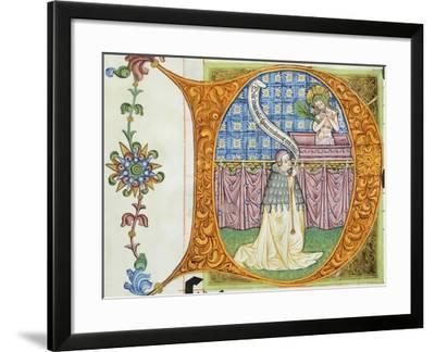 Initial Capital Letter with an Abbot Conversing with Christ--Framed Giclee Print