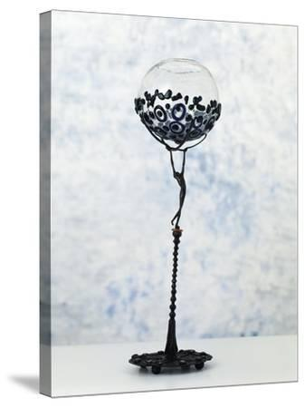 Iron Sculpture with Glass Paste Set in the Base and at the Top--Stretched Canvas Print