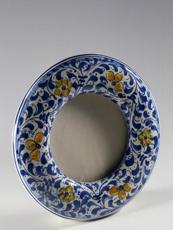 Round Photo Frame with Yellow and Blue Floral Decoration--Framed Giclee Print