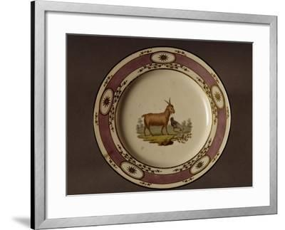 Plate Decorated with Figure of Goat and Chicken--Framed Giclee Print