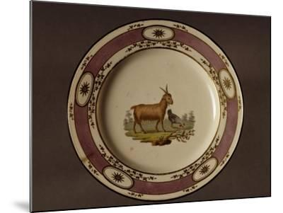 Plate Decorated with Figure of Goat and Chicken--Mounted Giclee Print