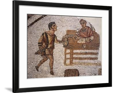 Mosaic Depicting a Banquet at Carthage from Uzitta--Framed Giclee Print