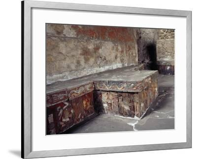 Stone Seat with Polychrome Reliefs Depicting Warriors--Framed Giclee Print