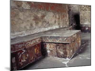 Stone Seat with Polychrome Reliefs Depicting Warriors--Mounted Giclee Print