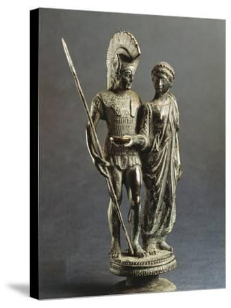 Etruscan Sculptural Group Representing Young Woman Offering Libation Phiale to Warrior--Stretched Canvas Print