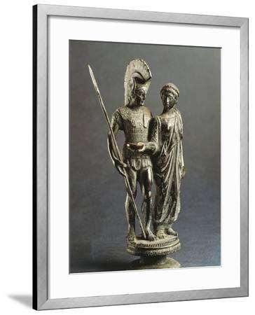 Etruscan Sculptural Group Representing Young Woman Offering Libation Phiale to Warrior--Framed Giclee Print