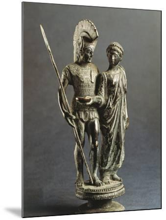 Etruscan Sculptural Group Representing Young Woman Offering Libation Phiale to Warrior--Mounted Giclee Print